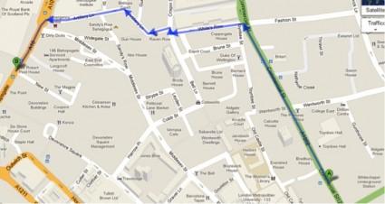 mappa dalla stazione all'hotel